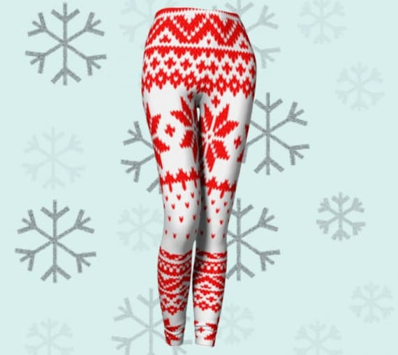 Christmas LEGGINGS Red and White Snowflake Leggings Womens Clothing Yoga Leggings Printed Leggings Yoga Pants Knit Pattern Snow Flake Print