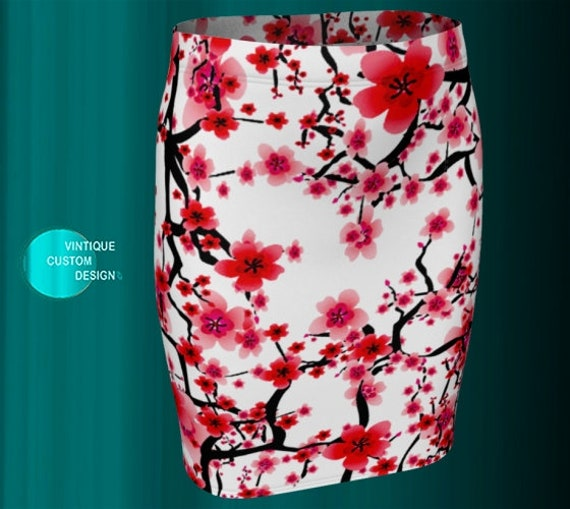 SPRING SKIRT Women's Floral Print Cherry Blossom Skirt for Women Oriental FLOWER Print Skirt High Waisted Mini Skirt Fitted or Flare Skirt