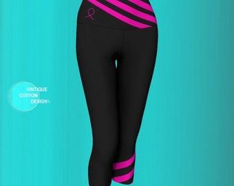 Pink Ribbon Capri LEGGINGS Women's Breast Cancer Leggings Pink Ribbon Gift Survivor Gift Support Gift for Women Yoga Capri BCAM Leggings