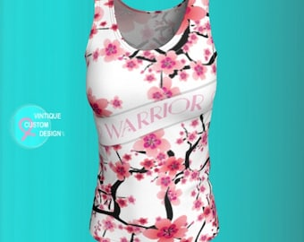Tank Top Pink Ribbon Breast Cancer Awareness Top for Womens Tank Top Cherry Blossom Print Pink and White Floral Tank Top Survivor Gift Shirt