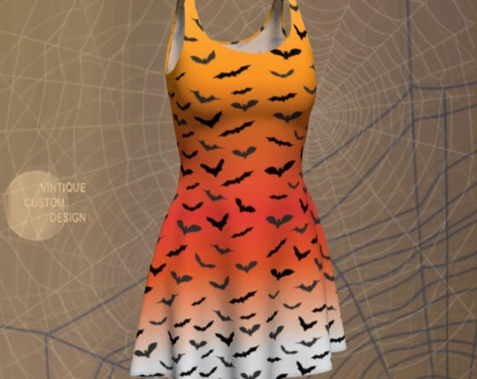 BAT DRESS Halloween Dress WOMENS Designer Fashion Dress Orange Ombre Fade Bat Print Body-con Dress Fitted Dress Fit & Flare Dress Skater