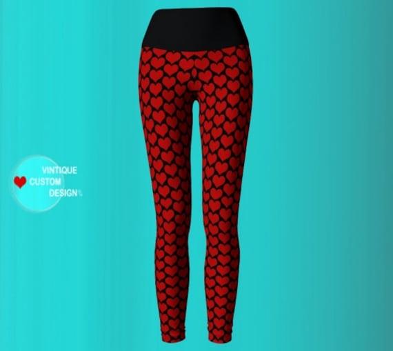 Black & Red HEART YOGA LEGGINGS Yoga Pants Womens Yoga Leggings Spring Leggings for Women Fitness Leggings Work Out Clothing Womens Leggings