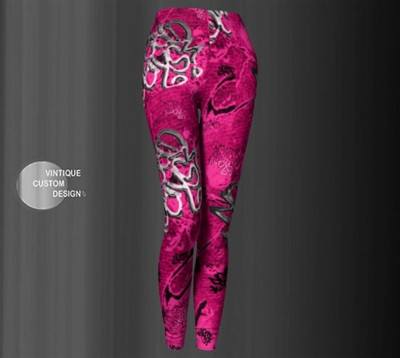GRAFFITI LEGGINGS Womens Designer Leggings No Bad Days Graffiti Art Leggings Printed Leggings Yoga Leggings Yoga Pants Urban Hipster
