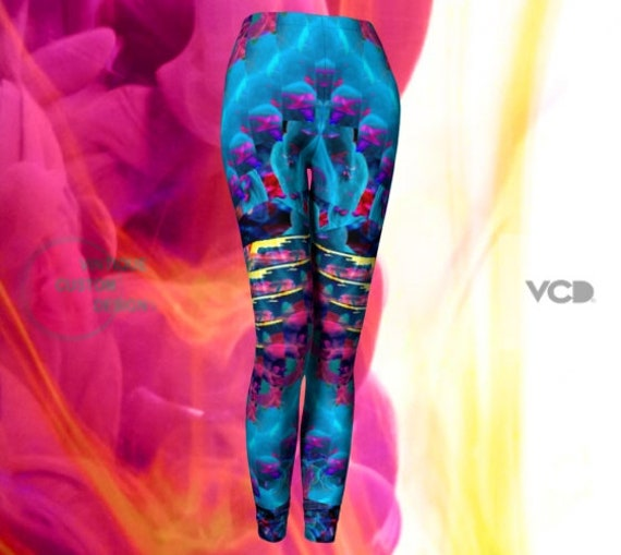VAPORWAVE Leggings YOGA LEGGINGS Trippy Psychedelic Printed Leggings Yoga Pants Womens Leggings Rave Clothing Festival Clothing Electronic