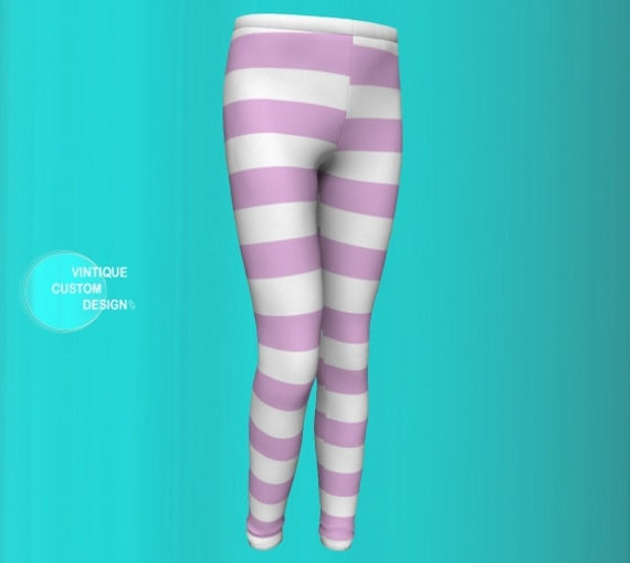 PINK STRIPED LEGGINGS for Girls - Girls Leggings - Kids Leggings - Baby Leggings - Toddler Leggings Girls Yoga Pants - Back to School Outfit