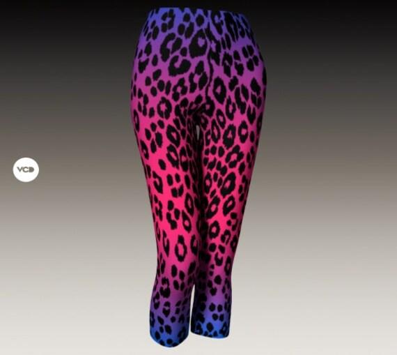 Cheetah Capri Leopard Print LEGGINGS WOMENS Capri Pants Yoga Capri Leggings Yoga Pants for Women Designer Leggings Women's Capri Leggings