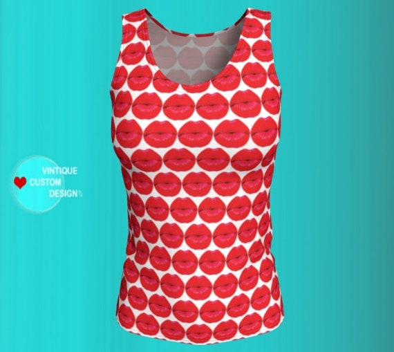 Valentine's Day Tank Top Red LIPS Top Kiss Me Shirt for Women Work out Clothing Gym Clothing Red and White Tank Top Work Out Top Womens