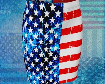 AMERICAN Flag SKIRT Women's Red White and Blue 4th of July Skirt Women USA America Patriotic Clothing Designer Fashion Skirt Fit or Flare