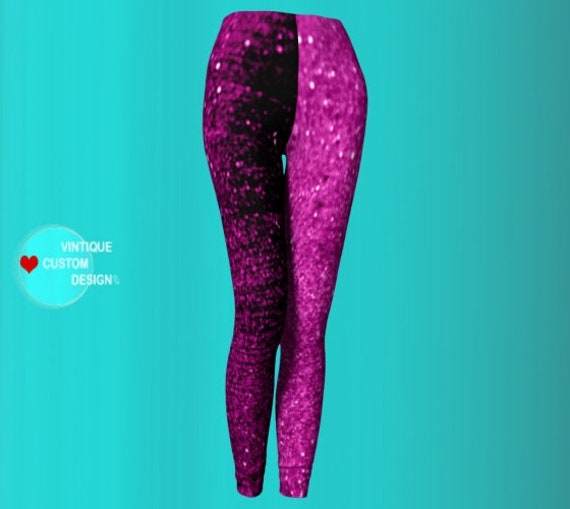 Sparkly LEGGINGS Womens Sexy Print Leggings Pink and Black Glitter Art Leggings YOGA PANTS Womens Yoga Leggings Best Friend Gift for Her