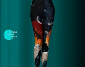 DIRE WOLF LEGGINGS - Womens Leggings - Full Moon - Galaxy Leggings - Dragon Leggings - Sci-Fi Clothing - Howling Wolf - Yoga Leggings