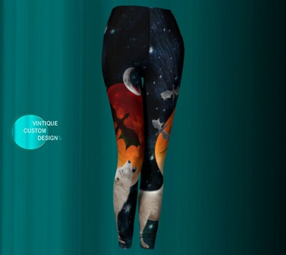 Howling WOLF LEGGINGS Womens Leggings Full Moon Stars Sun Galaxy Space Dragon Leggings Game of Throne GOT Sci-Fi Clothing Dire Wolf Leggings