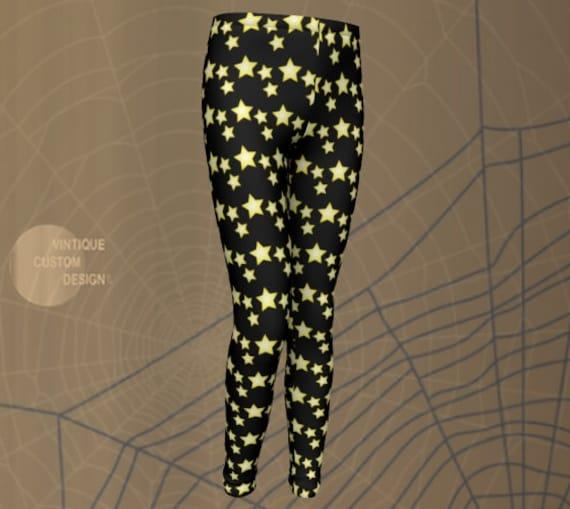 STAR LEGGINGS Kids HALLOWEEN Leggings Star Print Leggings Halloween Costume for Girls and Baby Leggings Black and Yellow Star Leggings