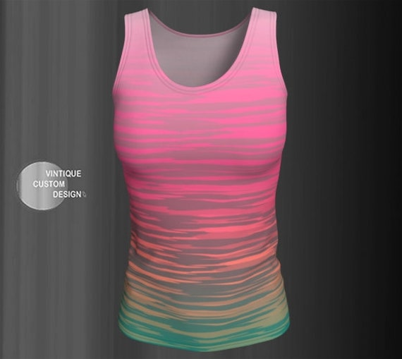 Neon Striped Top Workout TANK TOP for WOMEN Sleeveless Tank Top Ombre Tank Top Jersey Tank Top WorkOut Top Rave Tank Top Festival Tank Top