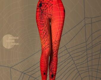 HALLOWEEN LEGGINGS Spider Web Leggings WOMENS Yoga Leggings for Halloween Clothing Orange Black Spider Printed Leggings Gothic Art Leggings