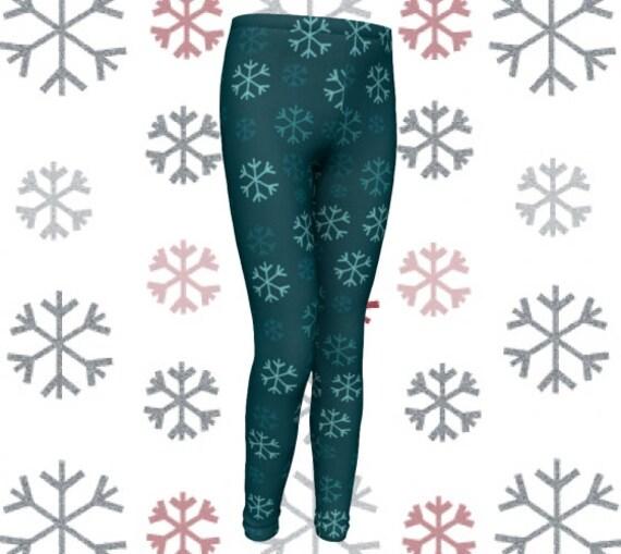 SNOWFLAKE CHRISTMAS Leggings Snow Flake Leggings Printed Leggings Baby Leggings Toddler Leggings Winter Leggings Tights Kids Snowflake Pants