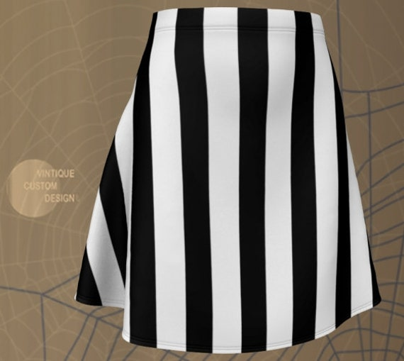 REFEREE SKIRT Prisoner Jail Skirt Black and White Striped Skirt HALLOWEEN Skirt Womens Skirt Fitted Skirt or Flare Skirt nmate Costume