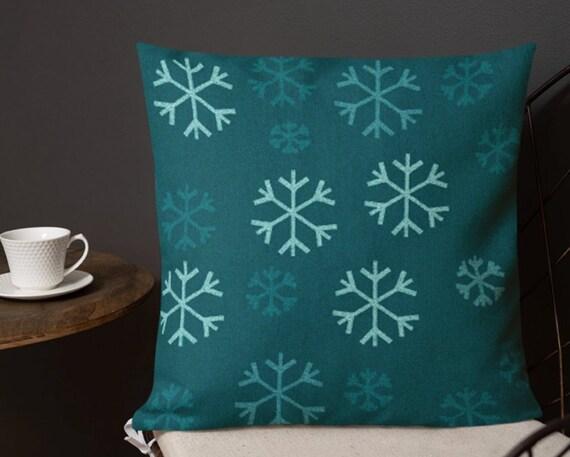 Holiday Home Decor DECORATIVE THROW PILLOW Snowflake Throw Pillow Winter Decor Festive Seasonal Christmas Home Decor Pillow Insert Included