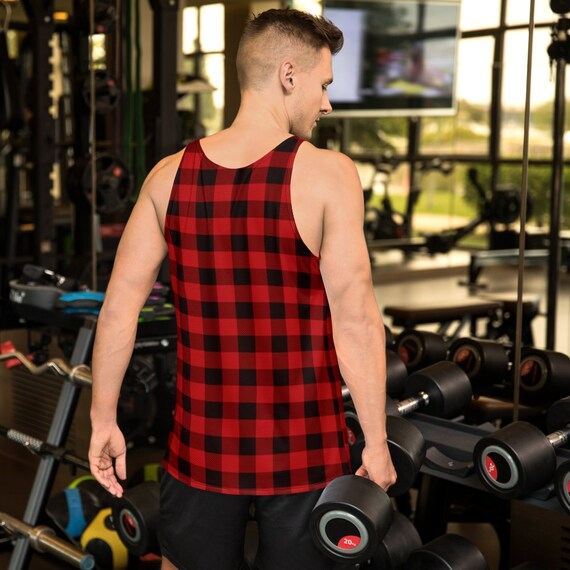 Plaid Tank Top Mens Red Buffalo Plaid MENS TANK TOP Red and Black Tank Top for Men Tank Top Sleeveless Top Athletic Tank Top Gym Tank Top
