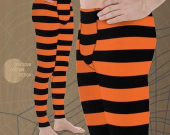 Mens Leggings Orange and Black WITCH Costume LEGGINGS MENS Halloween Leggings Striped Witch Leggings Mens Yoga Pants Meggings Yoga Leggings