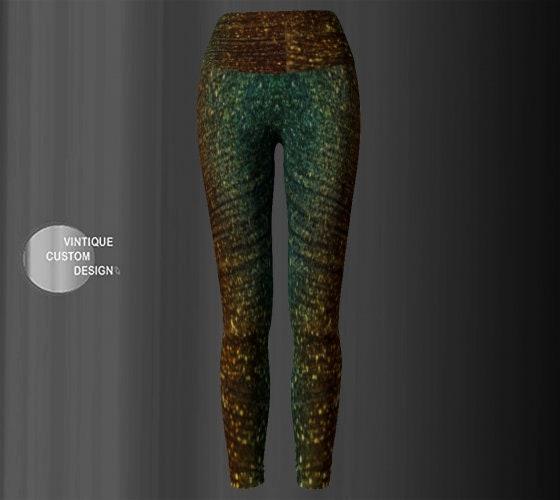744edcf7fbbb9 Sparkly GLITTER Printed YOGA LEGGINGS Womens Yoga Pants for Women Green and  Gold Art Leggings Work out Pants Womens Clothing Eco Friendly