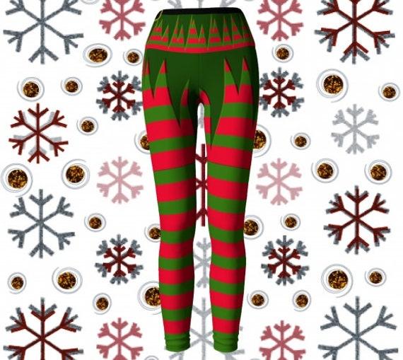 YOGA LEGGINGS WOMENS Christmas Leggings Yoga Pants Elf Costume Cosplay Leggings Stockings Tights for Christmas Sexy Elf Leggings Womens