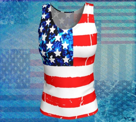 USA American Flag TANK TOP Womens Red White and Blue Patriotic Clothing Workout Clothing Yoga Tank Top for Women Stars and Stripes Tank Top