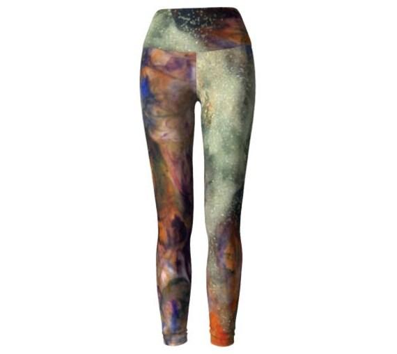 YOGA LEGGINGS WOMENS Gold Rainbow Glitter Galaxy Leggings Yoga Pants Galaxy Yoga Pants Galaxy Leggings Printed Leggings Womens Art Leggings