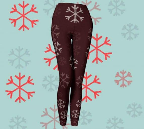 SNOWFLAKE LEGGINGS Women's Designer Snowflake Christmas LEGGING'S Winter Legging's Yoga Leggings Snowflake Yoga Pants Holiday Leggings