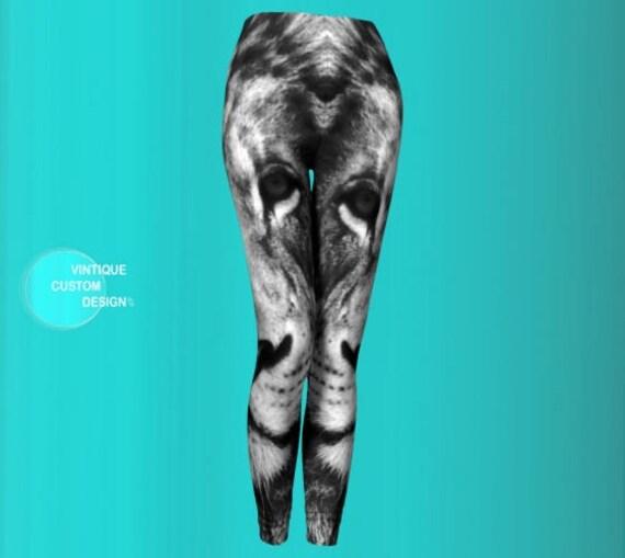 White LION Leggings Lion Print Leggings Womens Leggings Yoga Pants Yoga Leggings Lion Animal Print Leggings Yoga Pants Sexy Print Leggings