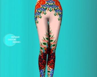 Boho LEGGINGS WOMENS Floral Tribal Yoga Leggings Yoga Pants Tribal Leggings Printed Leggings Womens Leggings Summer Leggings Hippie Clothing