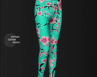 Girls Cherry Blossom Floral LEGGINGS for GIRLS Baby Leggings Girls Clothing Toddler Leggings Pink Flowers Back to School Girls Pants Kids