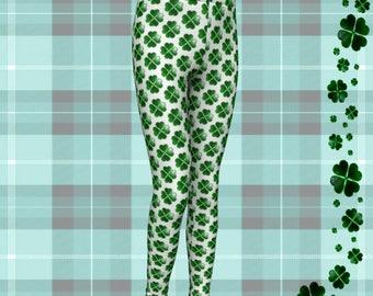 SHAMROCK LEGGINGS Clover Pants for Kids Paddys Day Youth Leggings for Kids Baby Leggings Toddler Pants Saint Patricks Day Green and White