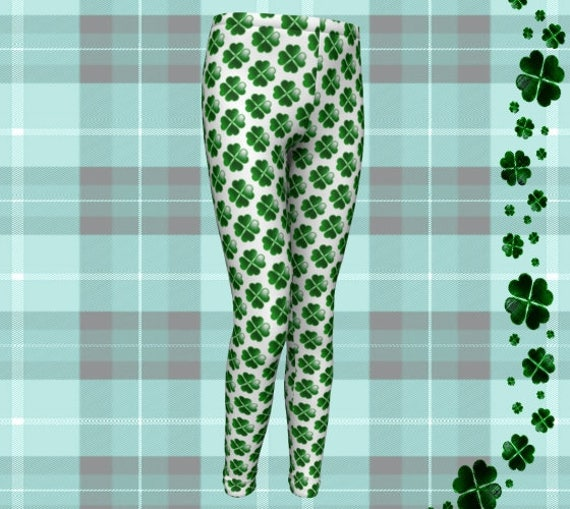 SHAMROCK LEGGINGS Clover Pants for St Pattys Day Youth Leggings for Kids Baby Leggings Toddler Pants Saint Patricks Day Green and White