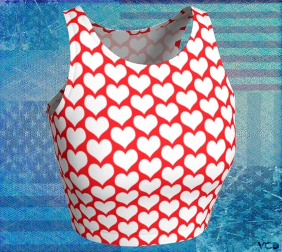 Patriotic Red and White HEART Crop TOP for WOMEN Athletic Crop Top Cycling Top Work Out Clothing Gym Shirt Women's Yoga Top Sports Bra