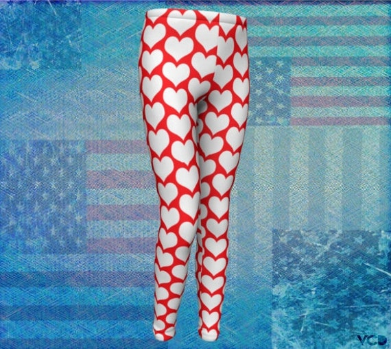 Red & White Heart Print Leggings for Kids Girls Baby Leggings Patriotic Leggings Toddler Leggings Youth Leggings Red and White USA Leggings