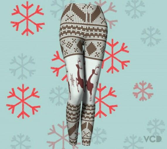 Reindeer Print Christmas LEGGINGS Womens Leggings YOGA PANTS Yoga Leggings for Women Pattern Crochet Printed Leggings Christmas Clothing