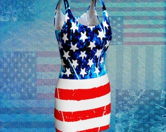 American Flag Dress BODYCON DRESS Women's Patriotic Red White and Blue Dress Flare Dress Stars and Stripes Dress Independence Day USA Dress