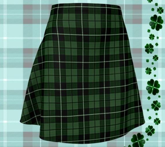 St. Patricks Day GREEN Tartan PLAID SKIRT Womens Plaid Skirts Tartan Plaid Skirt for Women Green Plaid Flare Skirt Fitted Skirt Plaid Skirt