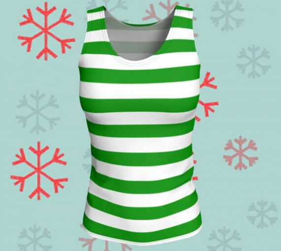 CHRISTMAS TANK TOP Green and White Top Women's Tank Top Christmas Elf Striped Tank Top Workout Top Christmas Outfit Christmas Gift for Her