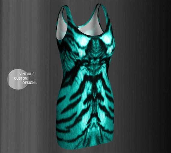 BODYCON DRESS Teal Tiger Print Dress Club Dress WOMENS Rave Clothing Sexy Mini Dress Short Tight Dress Sexy Mini Dress Party Dresses for Her