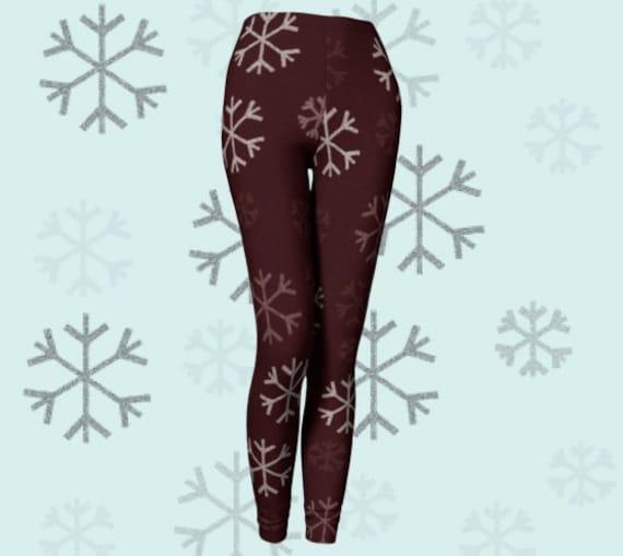 SNOWFLAKE LEGGINGS Womens Christmas LEGGING'S Winter Leggings Yoga Leggings Snowflake Yoga Pants Holiday Leggings Christmas Gift for Wife