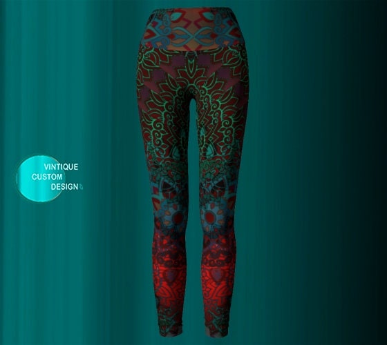 19a68c29e058a YOGA LEGGINGS Yoga Pants Printed Leggings Sexy Womens Leggings Festival  Clothing Burning Man Leggings Lotus Flower Leggings Sacred Geometry