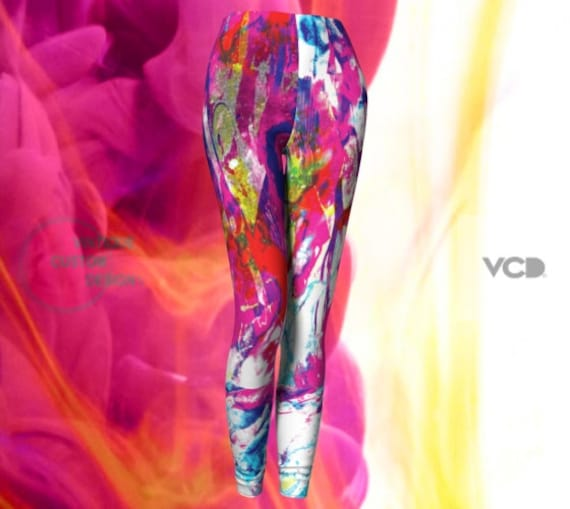 FESTIVAL LEGGINGS Women's Hand Painted Art Leggings RAVE Clothing Burning Man Leggings Rave Leggings Womens Yoga Pants Colorful Leggings
