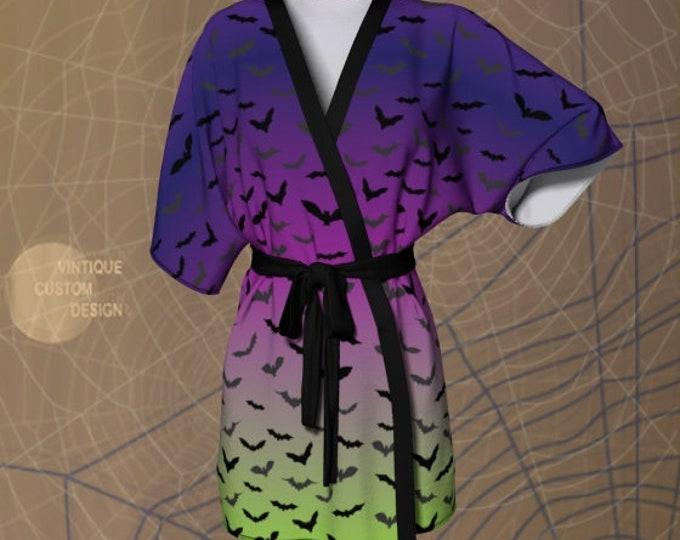 KIMONO ROBE Womens Kimono Robe for Halloween Bat Purple Green Print Robe Luxury Kimono Robe for Women Gift for Her Halloween Costume Robe