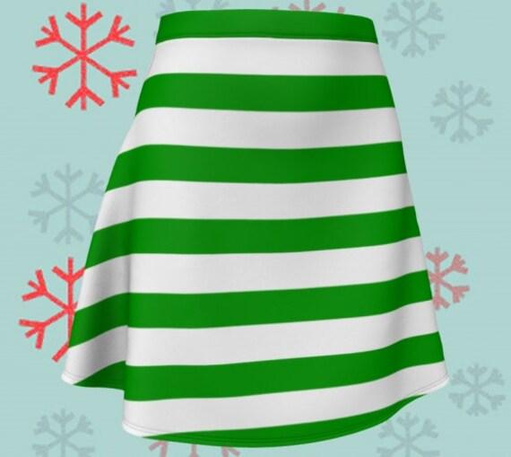 CHRISTMAS SKIRT Green and White Striped Skirt Christmas Skirt Fitted or Flare Styles Designer Fashion Skirt for Women Christmas Clothing