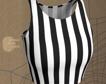 Referee Jail Crop Top HALLOWEEN Costume Women's Striped Halloween Cropped Top Womens Crop Top Bralette Sports Bra Sexy Rave Clothing Women's