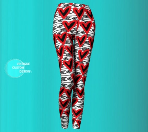 VALENTINES DAY LEGGING Heart and Arrow Leggings Cupids Arrow Heart Print Yoga Leggings Yoga Pants Heart Tights for Women Designer Leggings