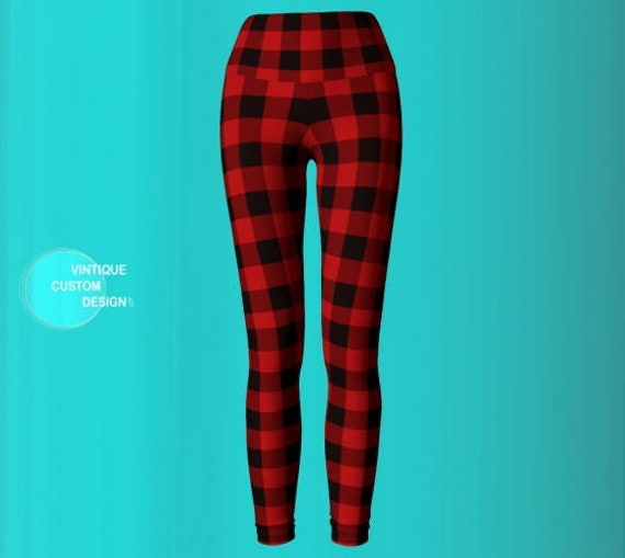 Buffalo and Pants Plaid Printed Buffalo LEGGINGS Leggings Plaid Womens Red Black Check Leggings Yoga Red BUFFALO Check Leggings PLAID Yoga 8q8d1B
