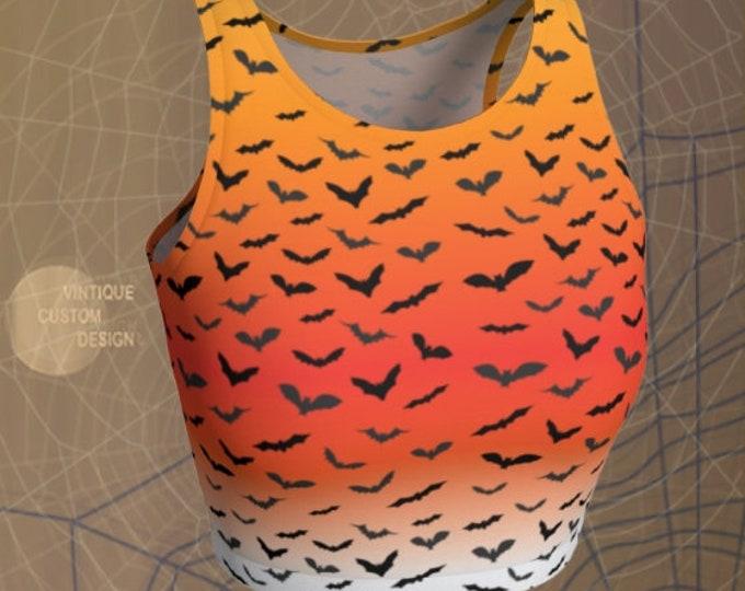 HALLOWEEN BAT Crop Top WOMENS Orange Ombre Print Cropped Top for Halloween Yoga Top Sexy Workout Top Work Out Clothing Bat Crop Top Womens