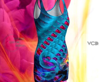 FESTIVAL DRESS WOMENS Rave Clothing Sexy Party Dress Sexy Mini Dress Bodycon Fitted Dress Sexy Dress Rainbow Dress Club Dress Rave Dress